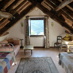 Twin Room in the attic with spectacular mountain views and ensuite at our Bed and Breakfast Spanish Pyrenees