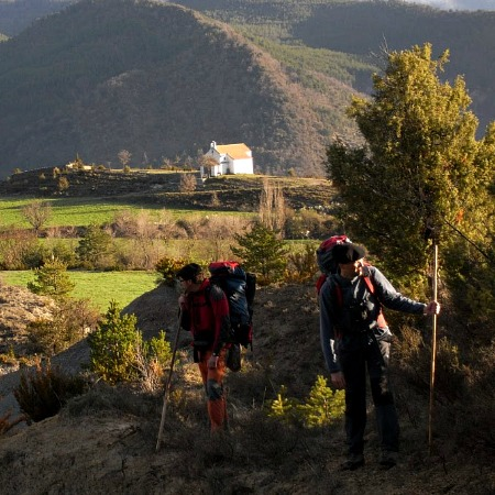 Walkers on the San Urbez footpath near our Bed and Breakfast Spanish Pyrenees