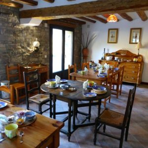The dining room at Casa Allue on Bed and Breakfast Spanish Pyrenees Holidays