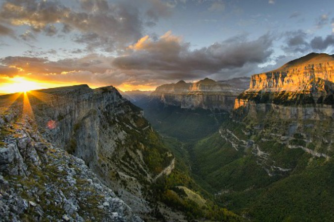 Sunset in the Ordesa Valley on Aragon Active Pyrenees Spain