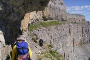 Walkers ion the faja des les flores in the ordesa national park on Tailor Made Holidays Spain