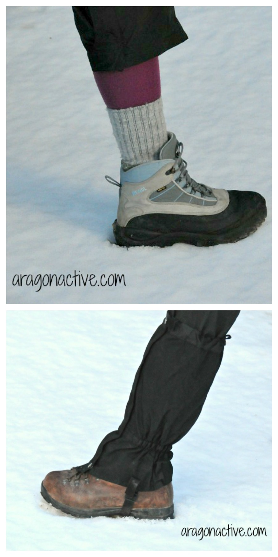 Photo showing two boots for snowshoeing on What to Wear Snowshoeing