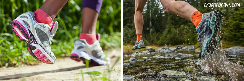 A photo of road shoes and trail shoes on Road Shoes vs Trail Shoes