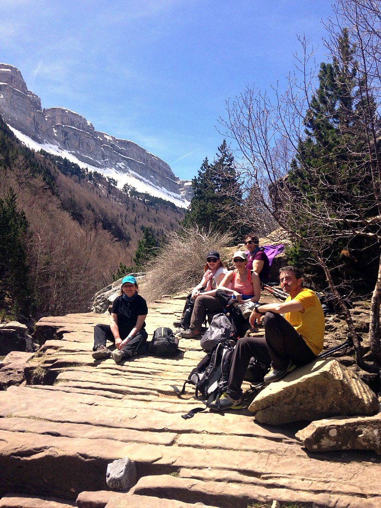 A group walking in the Ordesa National Park on Yoga Meditation Retreat Spain