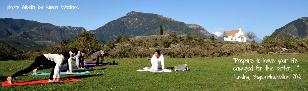 A yoga class outside in Albella on Home Aragon Active Spanish Pyrenees Holidays