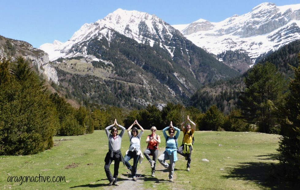 A group enjoying the sunshine in the mountains in April on Yoga Meditation and Wellness Retreats Spain