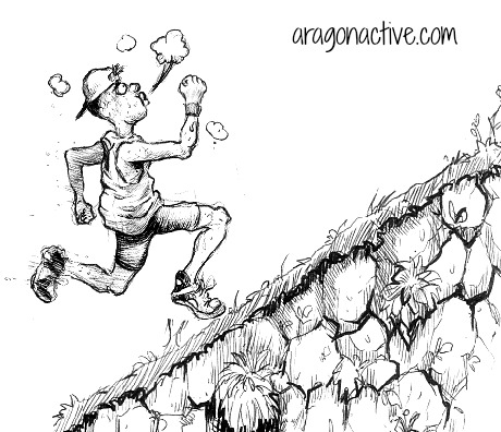 Cartoon of a runner going uphill on Running Technique and Training for Hills