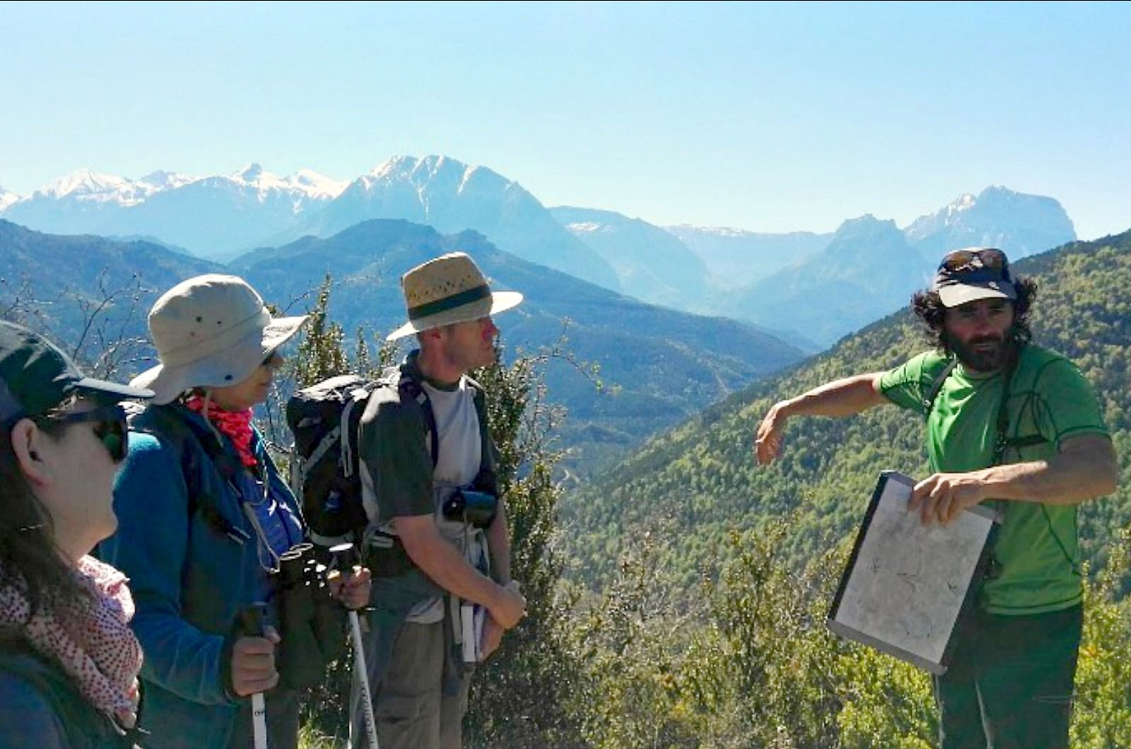 Our guide explaining the geology to a small walking group on Aragon Active Cultural Holiday Spain