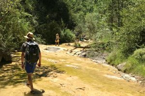 Walking up a stream in the Pyrenees to swim on the Learn Spanish Holiday with Aragon Active