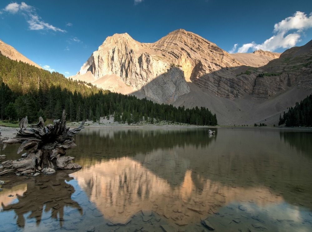 A photo showing the mountain reflections in the Ordesa National Park on Aragon Active Self Guided Walking Holiday Spain