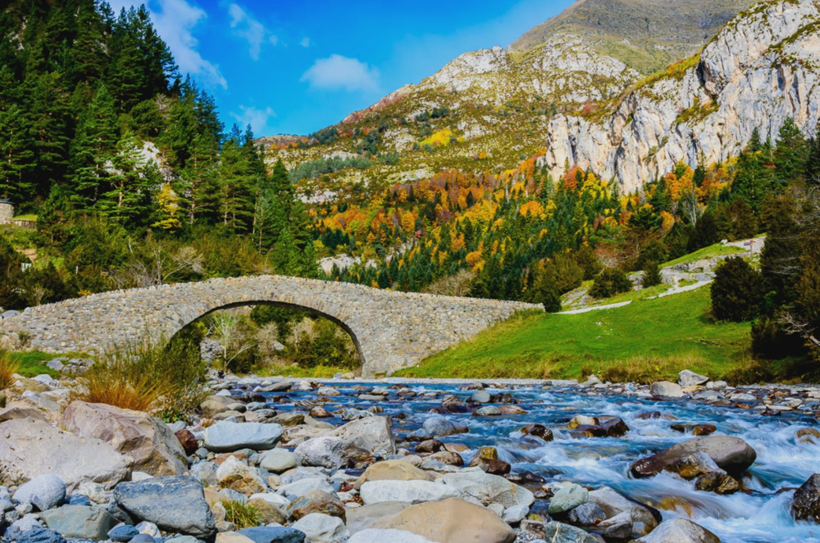 A medieval bridge in the Ordesa National Park on Aragon Active Self Guided Walking Holiday Spain