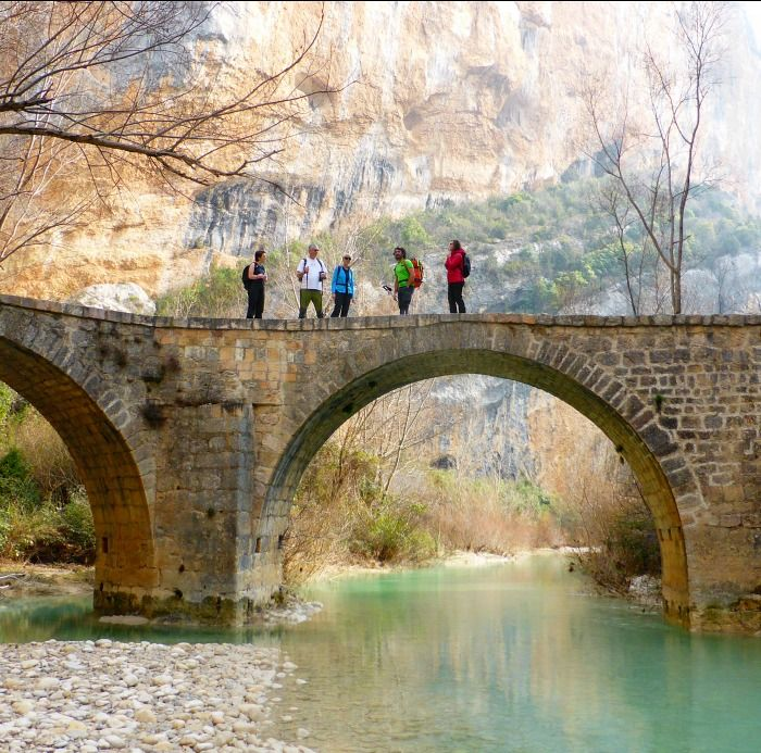 On top of a medieval bridge on Aragon Active Guided walking Holiday Spain