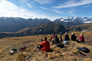 A photography group high in the Pyrenees looking at the panoramic view on the Photography Holiday Spain with Aragon Active