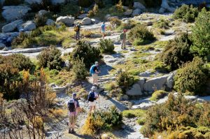 Walking by a stream bed in Ordesa on Aragon Active Guided walking Holiday Spain
