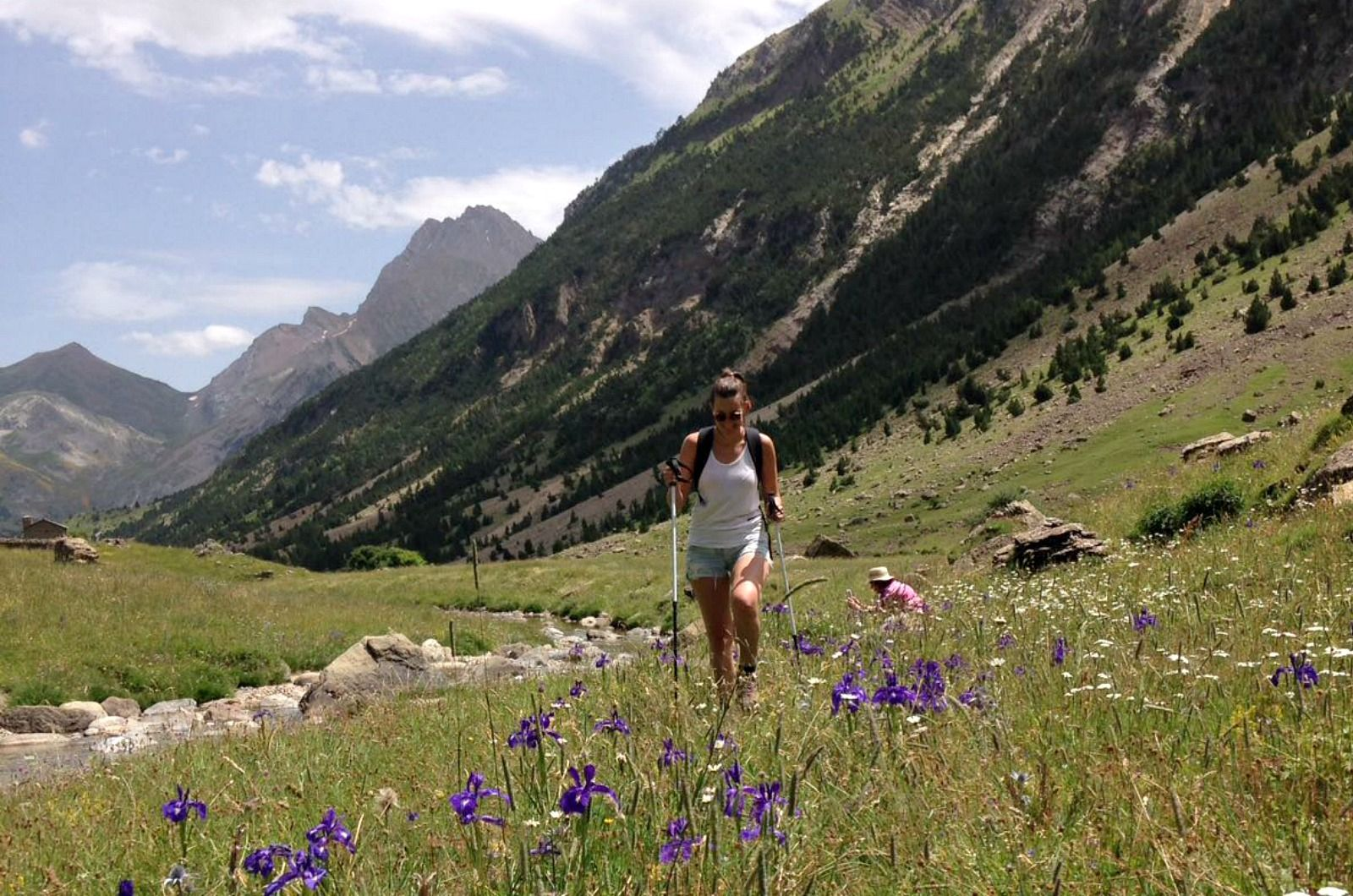A yogi walks through the wild iris in the Ordesa National Park on the Yoga Meditation Retreat Spain with Aragon Active
