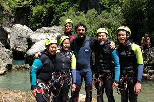 A photo of guests having completed a canyoning excursion with a guide on Aragon Active Tailor Made Activity Holiday Spain