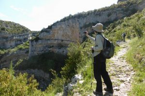 A self guided walker taking a photo in the Sierra de Guara on Aragon Active Self Guided Walking Holiday Spain