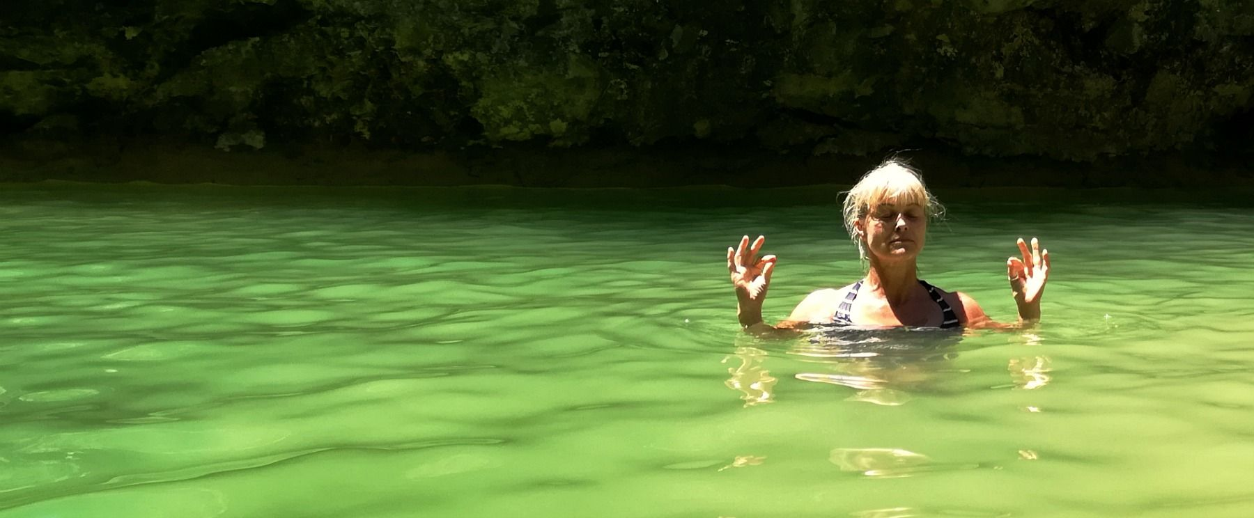 Wild swimming in the Spanish Pyrenees on the Yoga Meditation Retreat Spain with Aragon Active