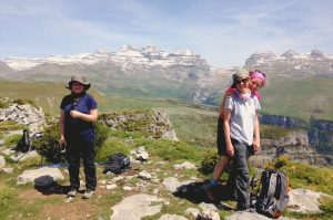 High on a ridge looking at Monte Perdido in Ordesa on Aragon Active Guided walking Holiday Spain