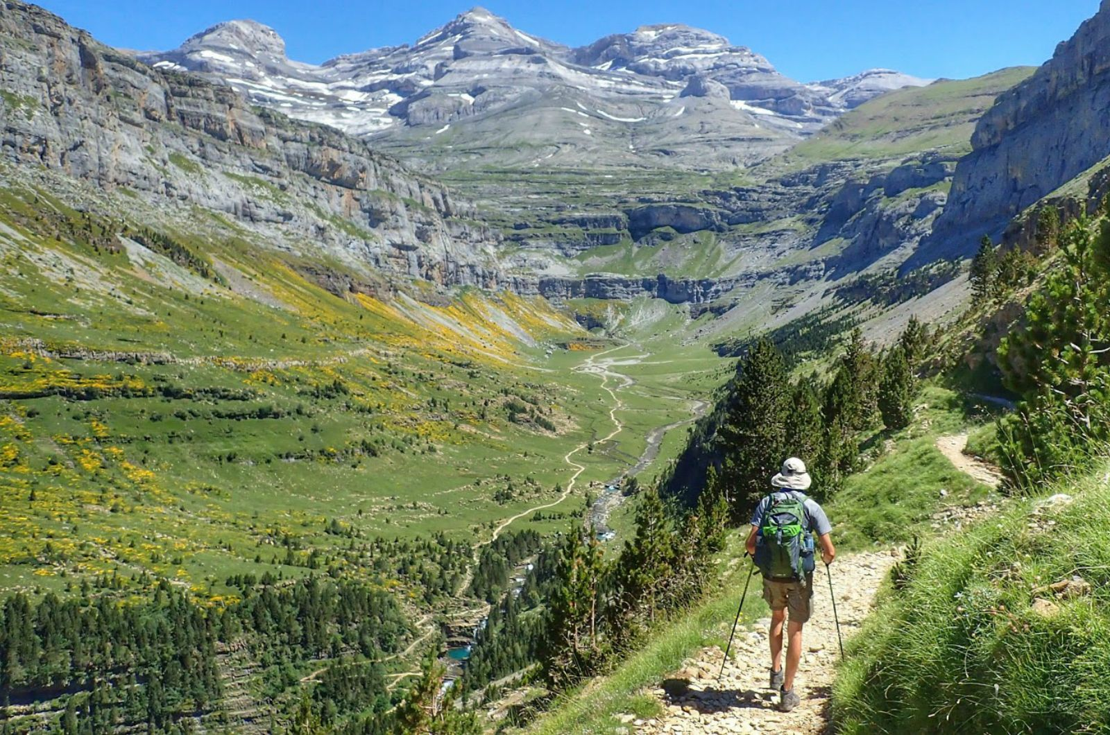 Looking down the Ordesa valley in the Ordesa national Park on Aragon Active Self Guided Walking Holiday Spain