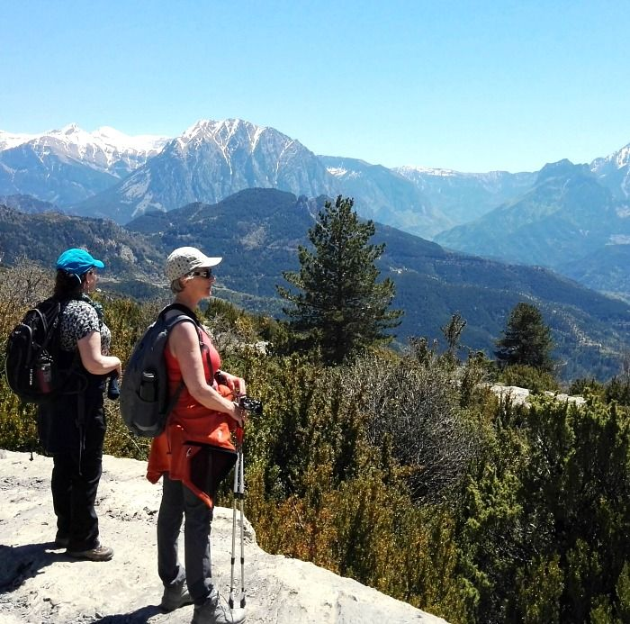 Two self guided walkers looking out across the Pyrenees on Aragon Active Self Guided Walking Holiday Spain