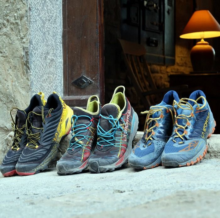 Trail running shoes outside Casa Allué door on Aragon Active Trail Running Holiday
