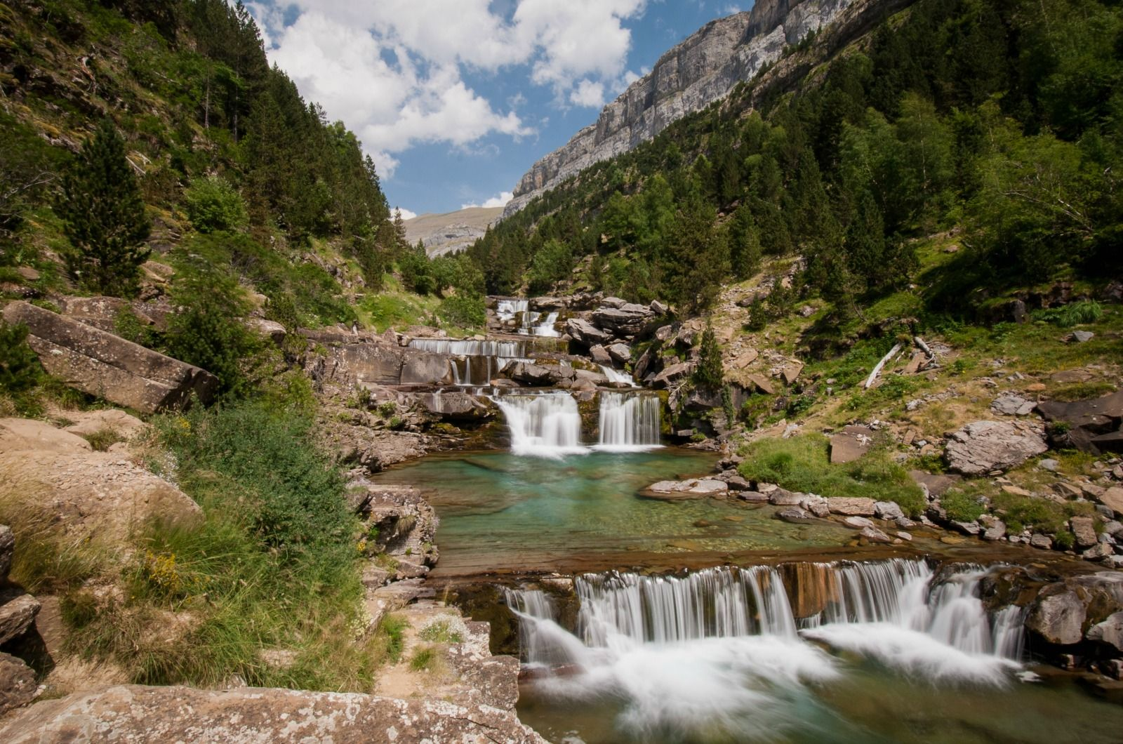 A view of the Soaso waterfalls in the Ordesa National Park on Aragon Active Guided walking Holiday Spain