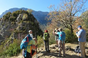 A walk in the Ordesa National Park with the guide pointing out some unusual flowers on Aragon Active Cooking Holiday Spain