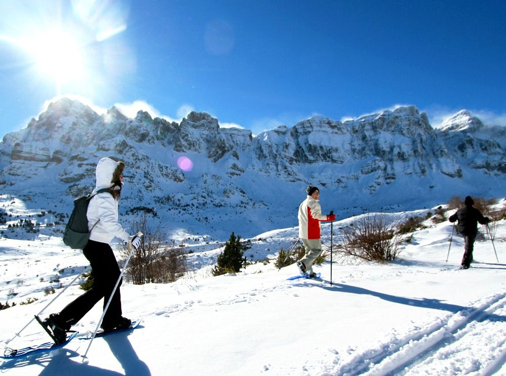 Snowshoeing on a ridge in the Pyrenees with Aragon Active Snowshoeing Holidays Pyrenees