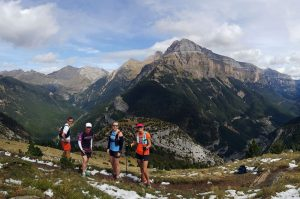 Trail runners above the Ordesa canyon in the Pyrenees on Aragon Active Trail Running Holiday