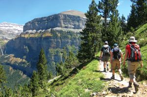 A group walking a faja in Ordesa on Aragon Active Guided walking Holiday Spain