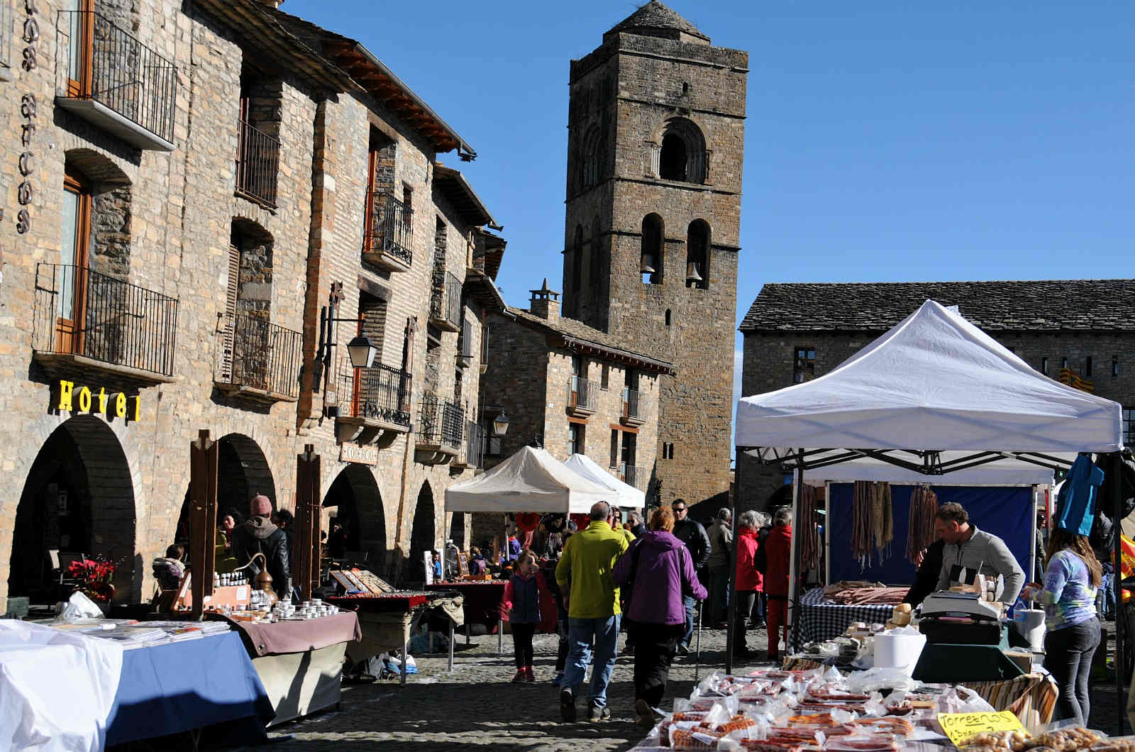 A view of the food market in Ainsa in the Spanish Pyrenees on a Cooking and Walking Holiday Spain