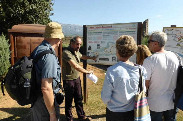 A quick vocabularly refresher to the students in front of a tourist notice board before entering the town of Ainsa on A view above the Añisclo canyon which we visit on Aragon Active Learn Spanish Holiday