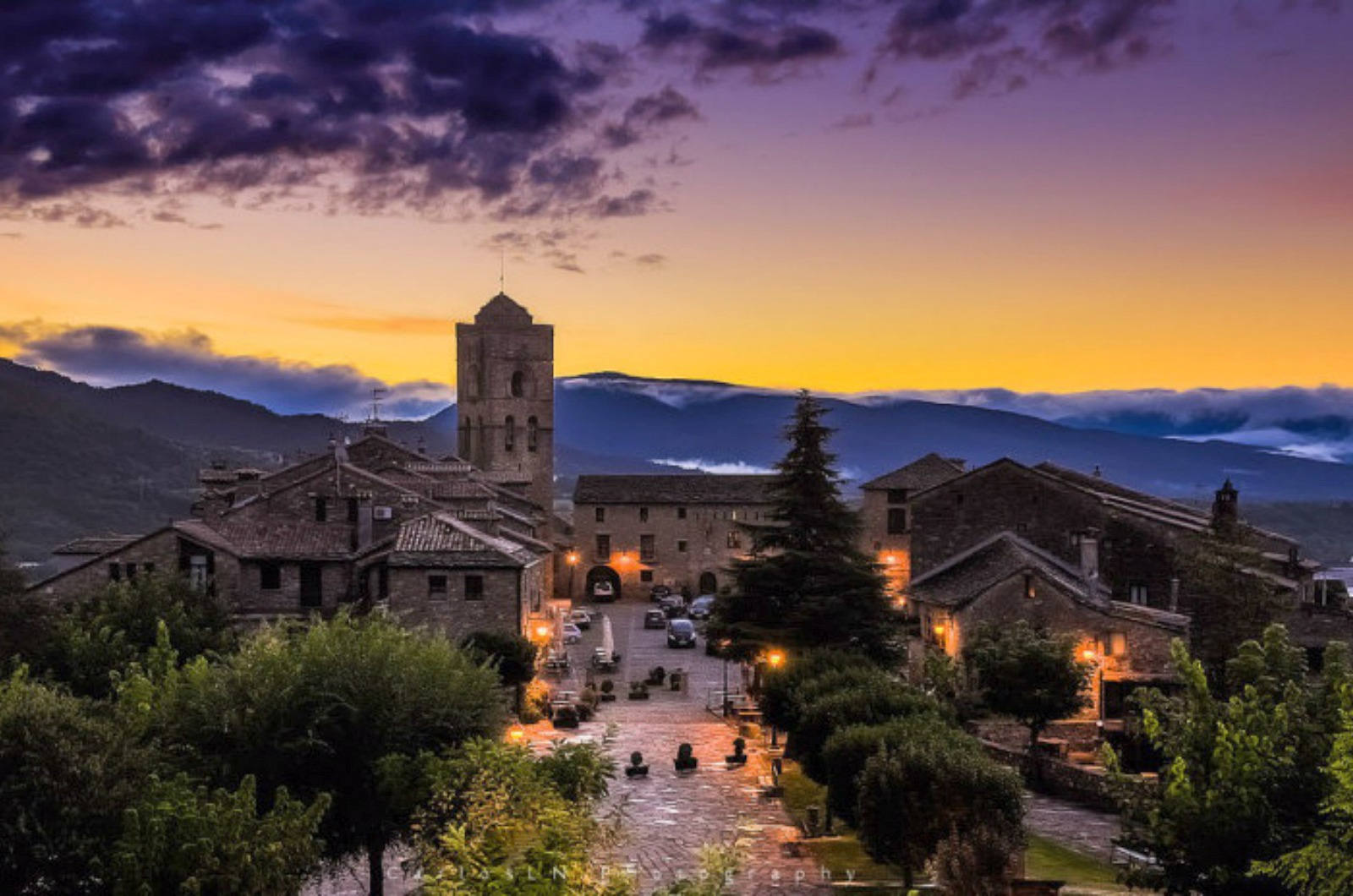 An eveing view from the fortress walls in the medieval town of Ainsa in the Spanish Pyrenees on a Cooking and Walking Holiday Spain