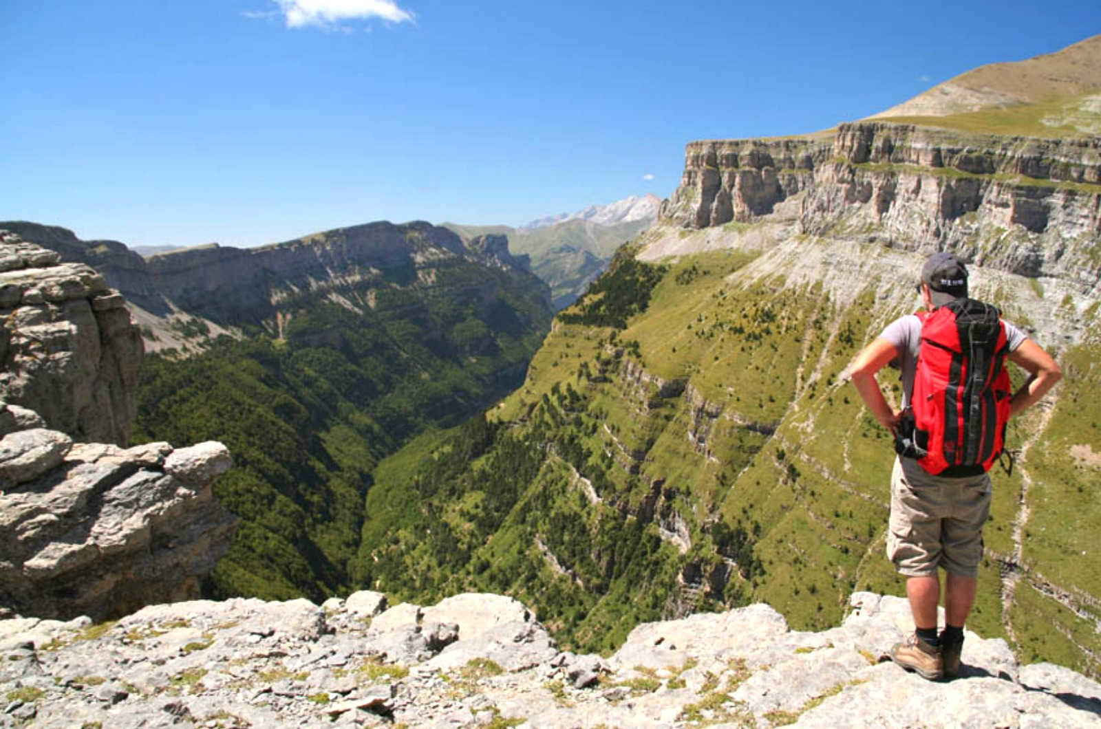 A walking looking down into the ordesa valley 1000m below on our Guided Walking Holiday Spain