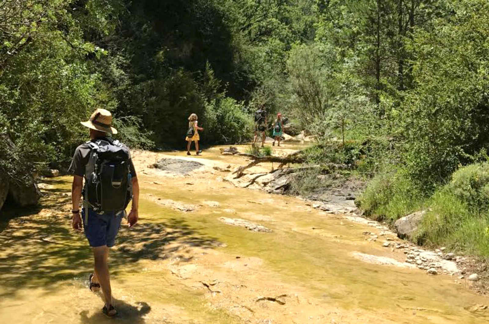 A walk to a beautiful natural pool on A view above the Añisclo canyon which we visit on Aragon Active Learn Spanish Holiday