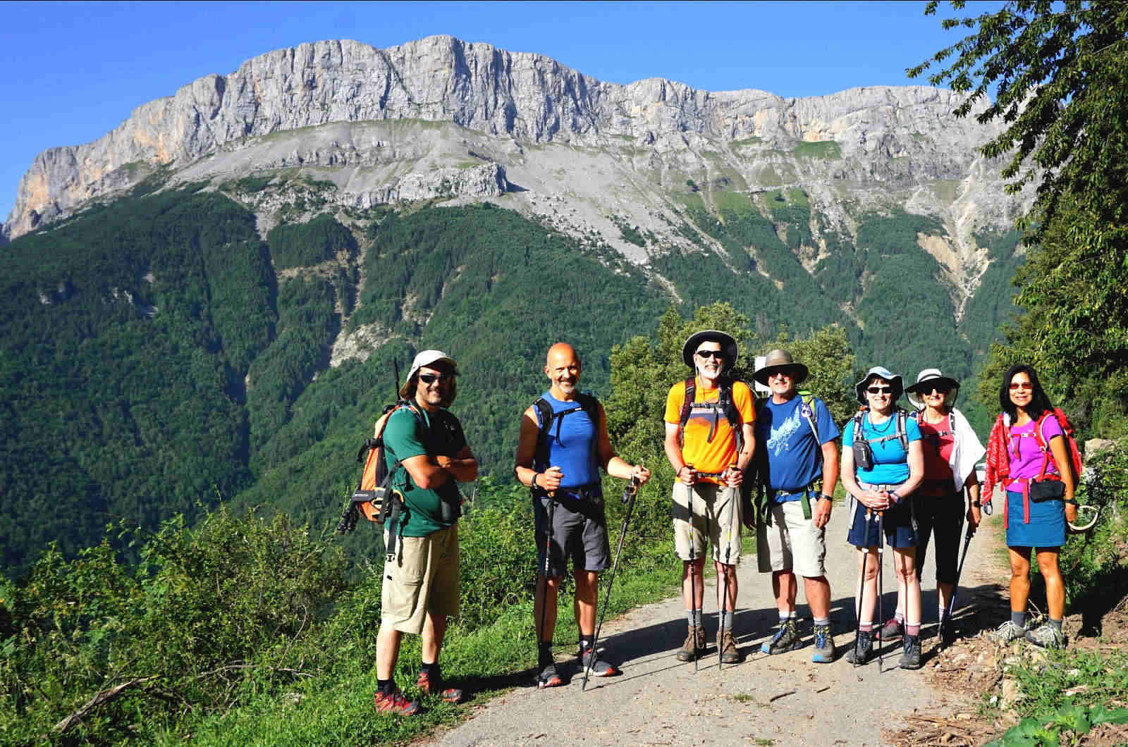 A group on a hiking excursion high in the Spanish Pyrenees on a Cooking and Walking Holiday Spain