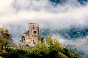 A photo of the tumbling church in Albella surrounded by mist on our Photography Holiday Spain