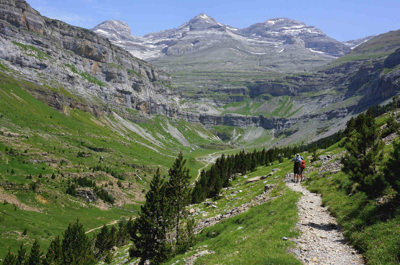 Hiking on the faja de pelay in the Ordesa National Park Spanish Pyrenees on our Guided Walking Holiday Spain