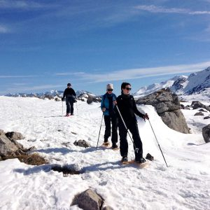 Ellen descends on snowshoes on our Snowshoeing Holidays Pyrenees