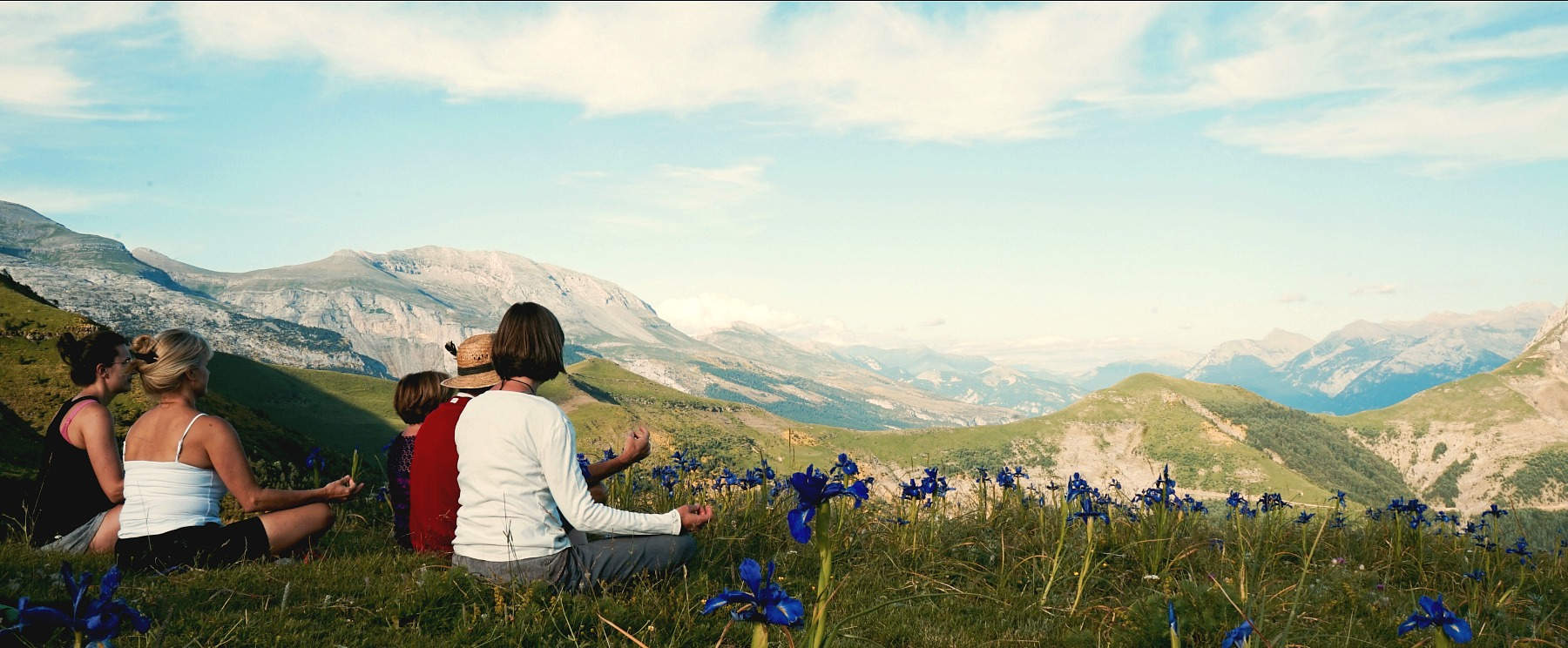 A group sit on top of a mountain meditating in the Spanish Pyrenees surrounded by wild iris on our Yoga and Walking Retreat Spain
