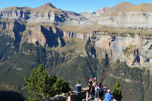 A view from a viewing balcony in the Ordesa National Park on an excursion on a Cooking and Walking Holiday Spain