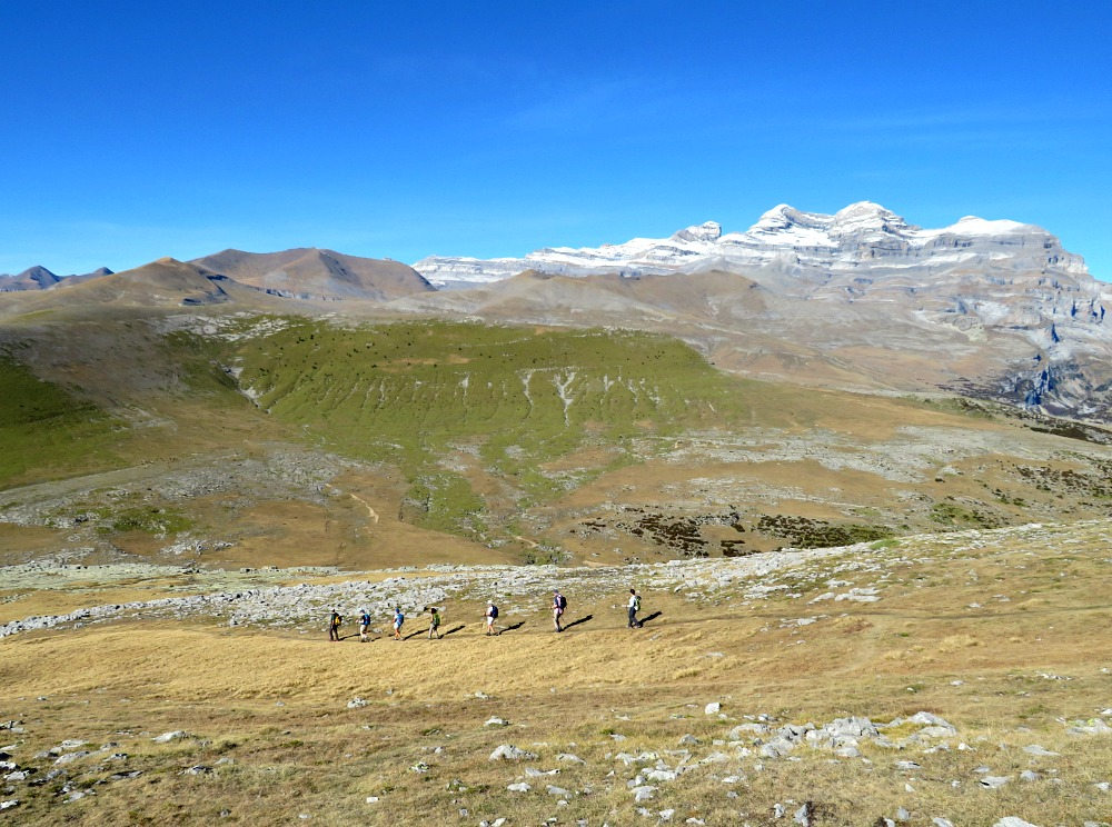 A panoramic view of a hiking group high up in the Ordesa National Park on our Guided Walking Holiday Spain