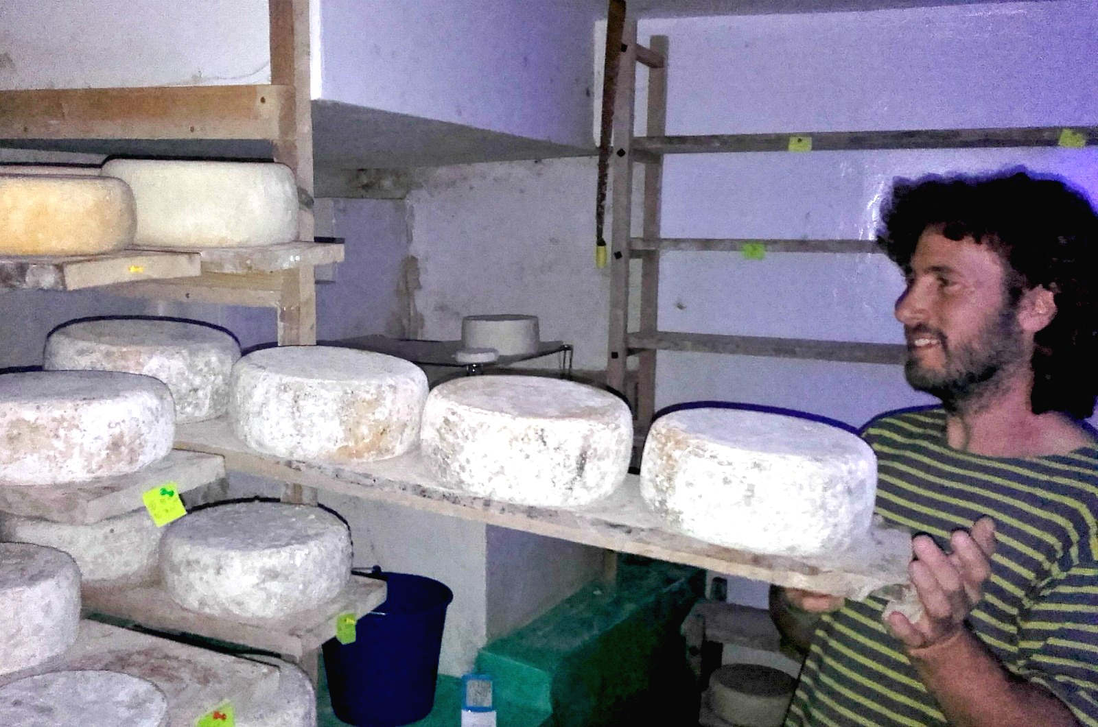 Local producer Jorge making goats cheese on a Cooking and Walking Holiday Spain