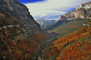 Autumn picture of the Ordesa valley in the Spanish Pyrenees with the trees showing all the shades from gold to a deep russet on our Guided Walking Holiday Spain