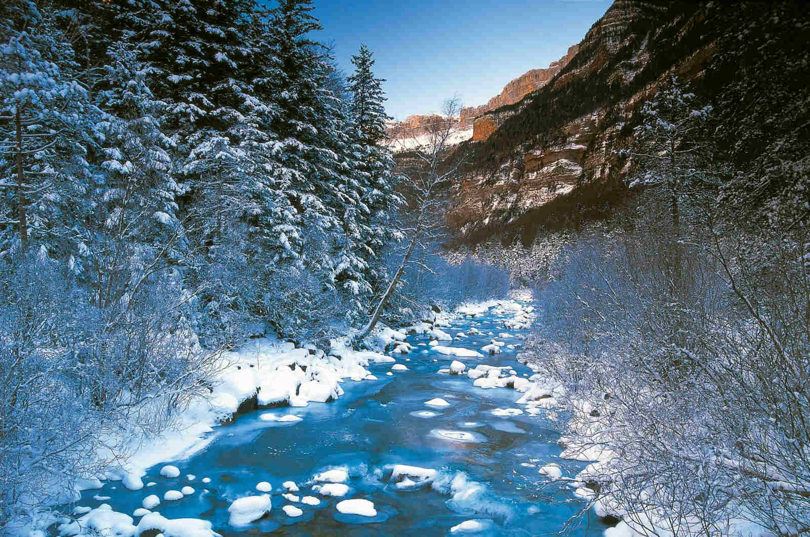 The river Arazas in winter in the Ordesa National Park with trees and stones laden with snow. Photo taken on our Photography Holiday Spain.