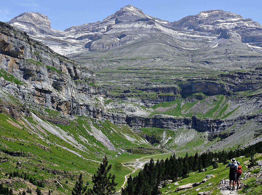 A view of a high trail in the Ordesa valley looking towards Monte Pedido on our Guided Walking Holiday Spain
