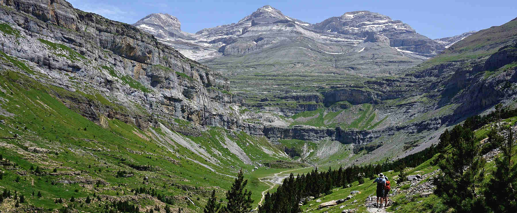 A view of the wide U shaped valley of Ordesa from a high hiking route on Guided Walking Holiday Spain