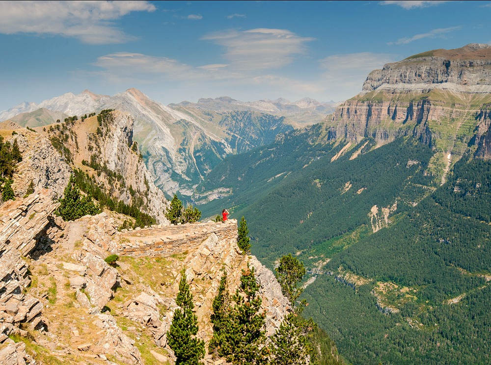 A panoramic view across the Ordesa National Park from a viewing balcony on our Cooking and Walking Holiday Spain
