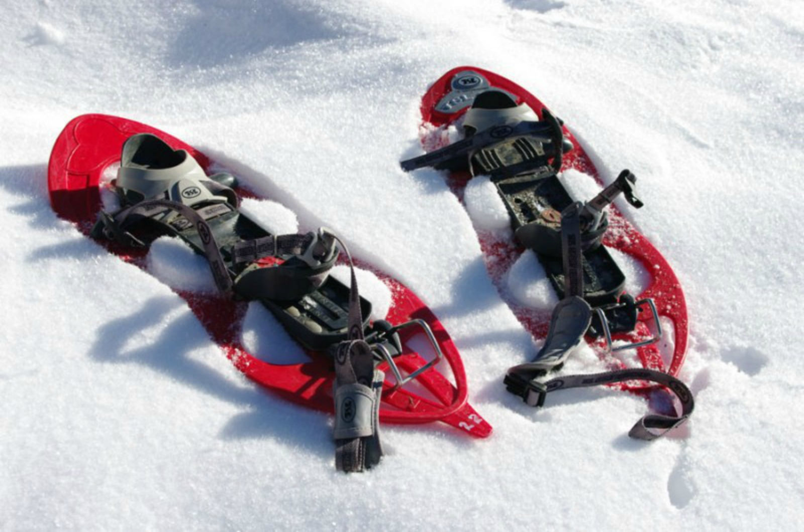 A photo of a pair of red snow shoes lying in the snow on our Snowshoeing Holidays Pyrenees